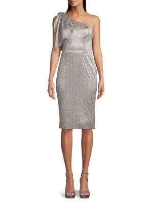 c4f55ad242f3b QUICK VIEW. Betsy & Adam. Metallic One-Shoulder Sheath Dress