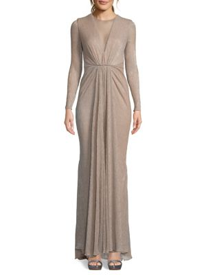 be36c8c1d4c QUICK VIEW. Betsy   Adam. Pleated Metallic Illusion Gown