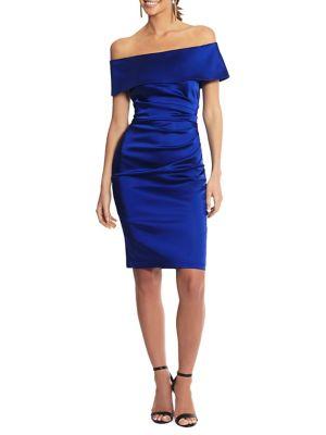 cfb464e8eb71 QUICK VIEW. Betsy & Adam. Off-The-Shoulder Satin Sheath Dress