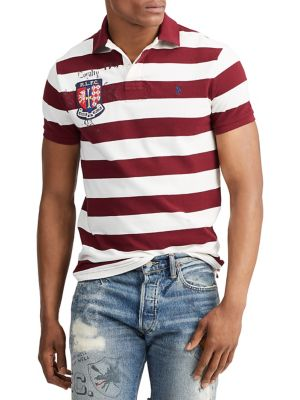 3fdc7486b Custom Slim-Fit Striped Cotton Polo RED. QUICK VIEW. Product image