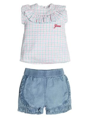 bc0b694e8 Baby Girl's 2-Piece Cotton Top & Chambray Shorts Set LIGHT BLUE. QUICK  VIEW. Product image