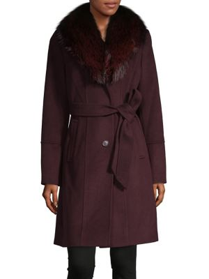 Fox Fur Trimmed Belted Walker Coat by Michael Michael Kors