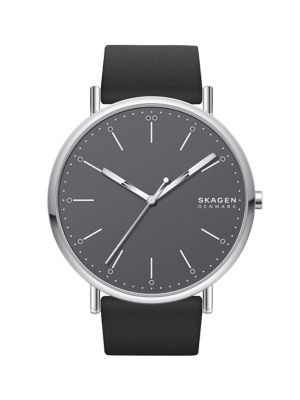94fcbf3b QUICK VIEW. Skagen. Signatur Stainless Steel & Leather-Strap Watch