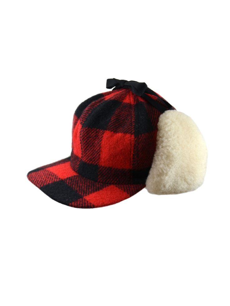 ba98c1bcd4d Black Brown 1826 - Buffalo Check Wool and Shearling Fudd Cap ...