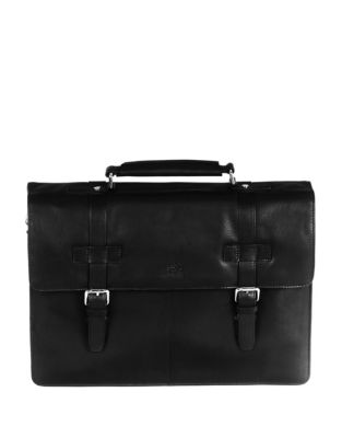 Colombian Rfid Secure Double Compartment Leather Briefcase by Mancini