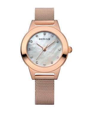 Bering Classic Analog Rose Goldtone Swarovski Crystal Watch