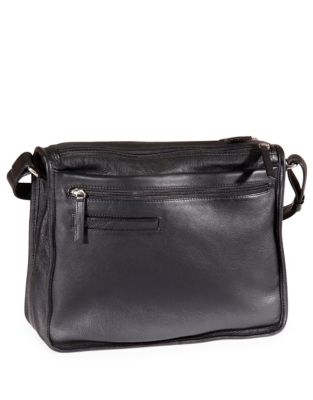 7c6a7cf14e Twin Zip Leather Shoulder Bag BLACK. QUICK VIEW. Product image