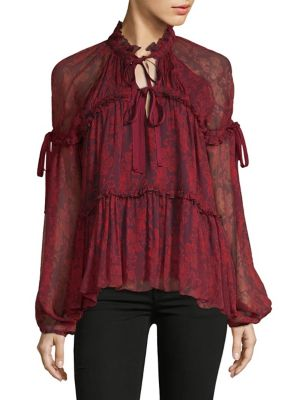Ruffle-Trimmed Silk Top 600090541169