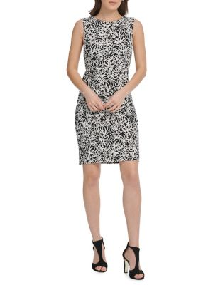 UPC 600091002015 product image for Floral Scribble Sleeveless Sheath Dress | upcitemdb.com