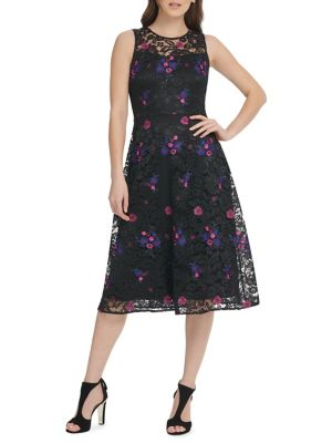 2b6f94f86176 Product image. QUICK VIEW. DKNY. Embroidered Floral Lace Fit & Flare Midi  Dress