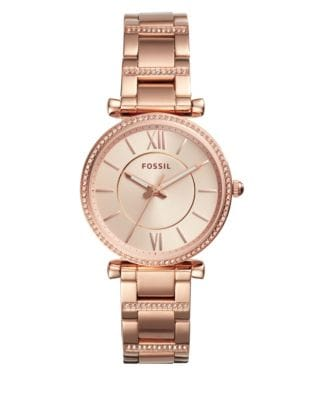 Fossil Analog Carlie Rose-Goldtone Stainless Steel Bracelet Watch