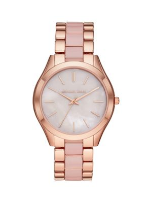 Michael Kors Slim Runway 3-Hand Rose Goldtone Bracelet Watch