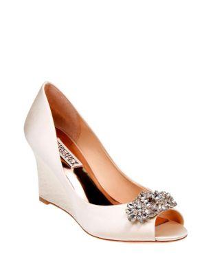 76d70909e874 Product image. QUICK VIEW. Badgley Mischka. Dara Peep-Toe Wedge Shoes