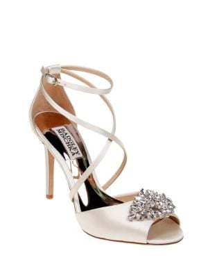 0ff689ee62e QUICK VIEW. Badgley Mischka. Tatum Embellished Satin Ankle-Strap Pumps