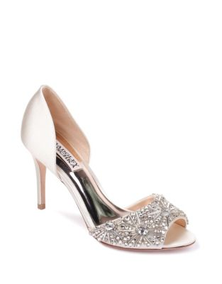 fc81ec57671080 Product image. QUICK VIEW. Badgley Mischka. Maria Satin Peep-Toe Heels