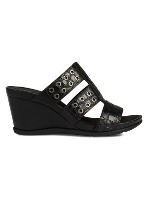 1579924daf53 Marlyna Embossed Leather Wedge Mules BLACK. QUICK VIEW. Product image