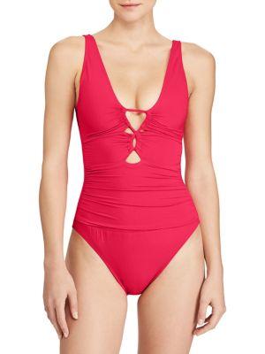 e95eb2c1475 QUICK VIEW. Lauren Ralph Lauren. One-Piece Loop-Front Swimsuit