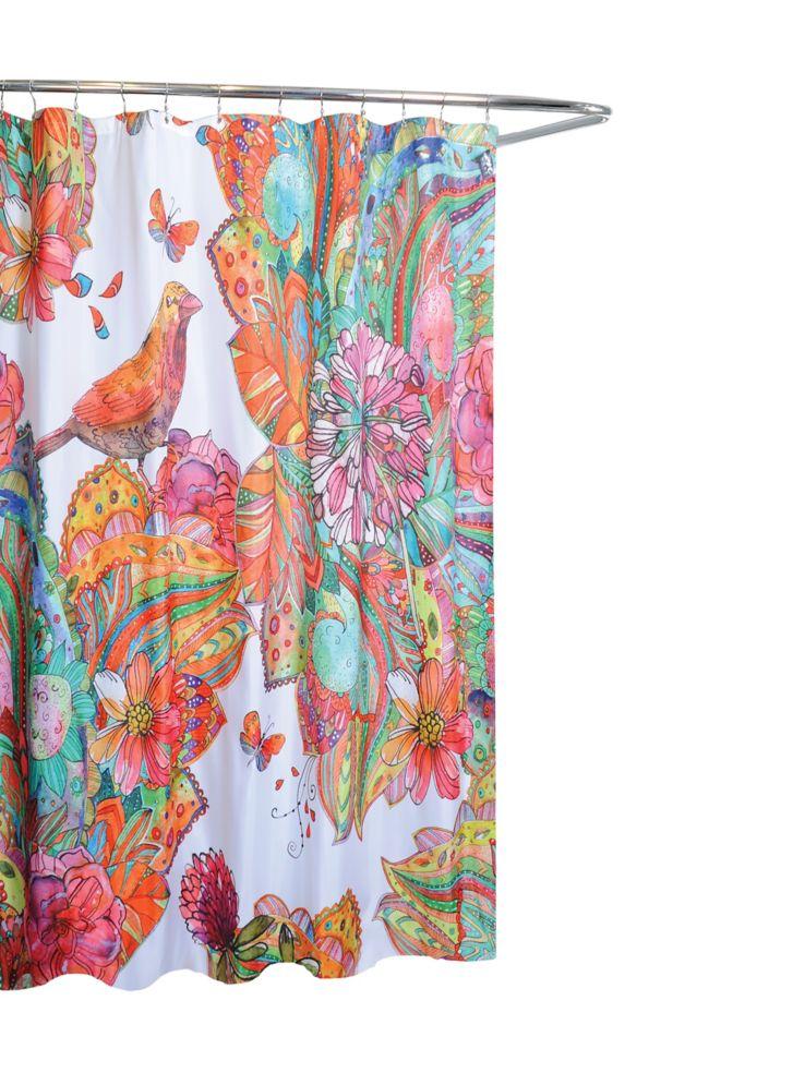 Art Journal Bird And Floral Shower Curtain