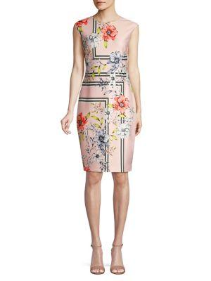 3b88a801799e41 QUICK VIEW. Vince Camuto. Floral Cap-Sleeve Sheath Dress