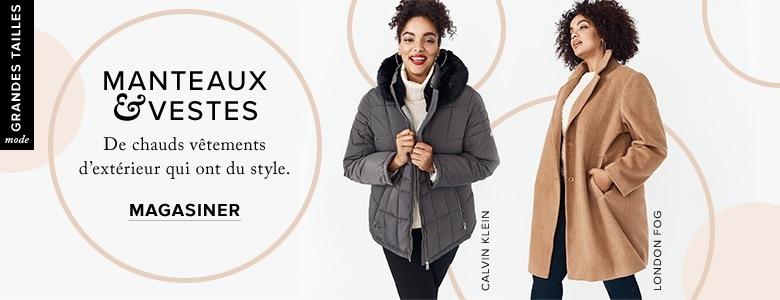 Femme Vêtements pour femme Grandes tailles. Manteau matelassé grandes  tailles gris avec garniture noire Calvin Klein et caban beige à deux boutons 7a5776b1acf