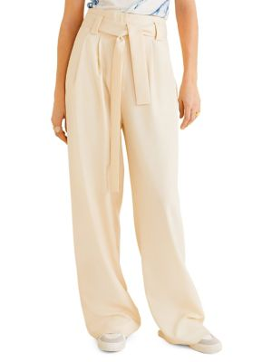 347d558f10274 QUICK VIEW. Mango. Paper Belted Straight-Fit Wide-Leg Trousers