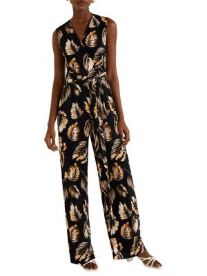 287a9a2dc40 Floral Straight-Leg Jumpsuit.  90.00 · Palm Print Belted Sleeveless Jumpsuit  BLACK. QUICK VIEW. Product image