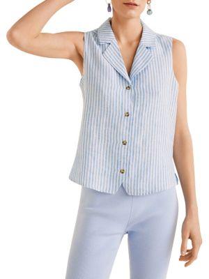 fc2145d9d14 Degas Striped Linen Button-Down Shirt LIGHT BLUE. QUICK VIEW. Product image