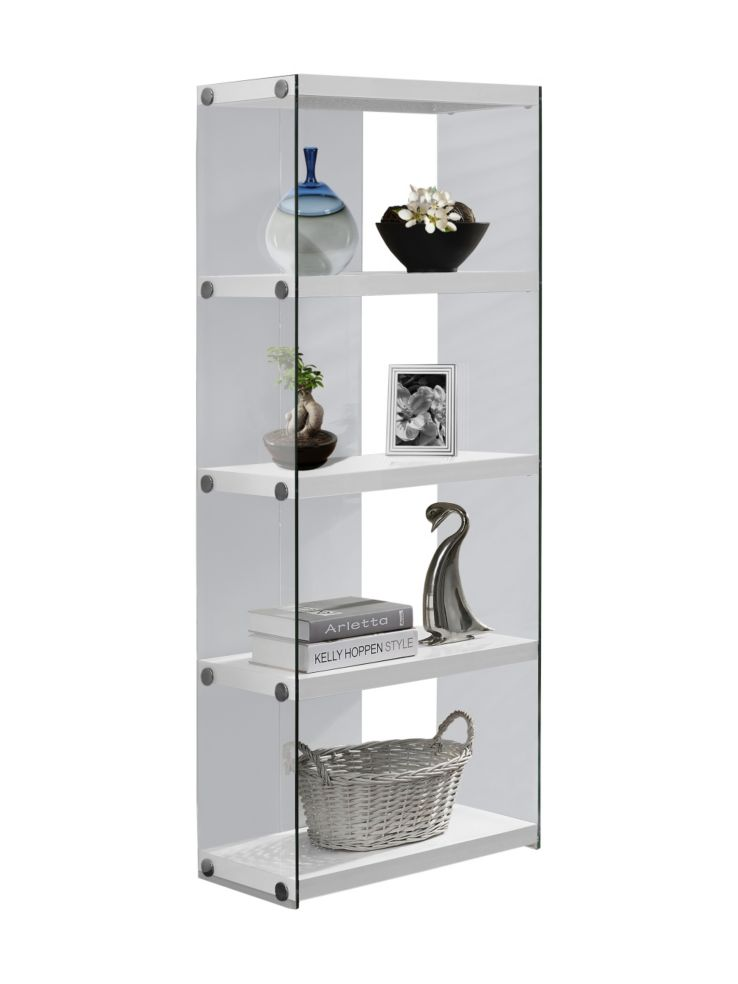 60 Inch Tempered Glass Bookshelf