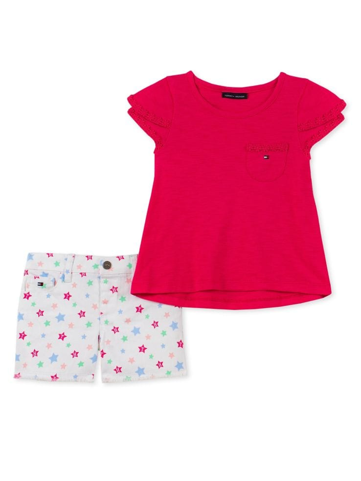 0fcf395a3 Tommy Hilfiger - Little Girl's 2-Piece Floral Trim Tee and Shorts ...