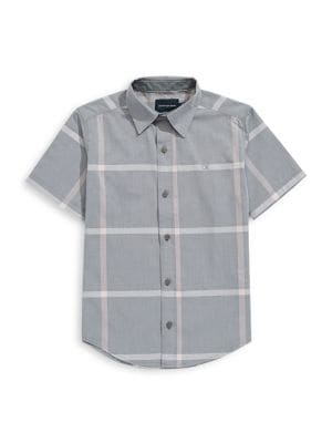 5f8c175a544a QUICK VIEW. Calvin Klein. Boy s Windowpane Plaid Cotton Collared Shirt