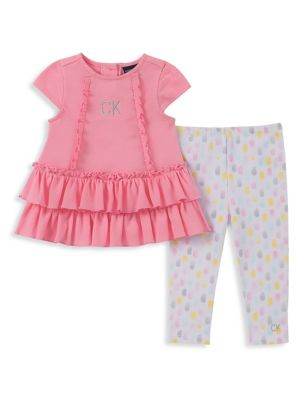 d5498a99b Baby Girl's 2-Piece Cotton Blend Ruffled Tunic & Printed Leggings Set
