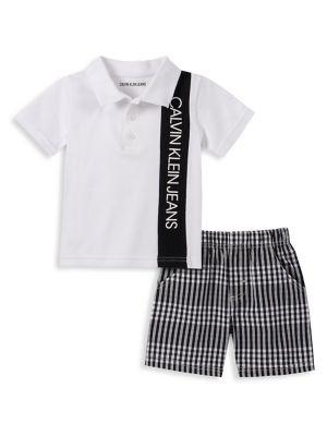 3f60f1d2 QUICK VIEW. Calvin Klein. Baby Boy's 2-Piece Polo & Plaid Shorts Set