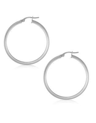 d75e6d464 10K White Gold Square Tube Hoop Earrings