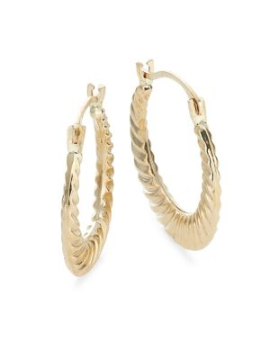 32fab6cdb 10K Goldplated Round Ribbed Hoop Earrings GOLD. QUICK VIEW. Product image