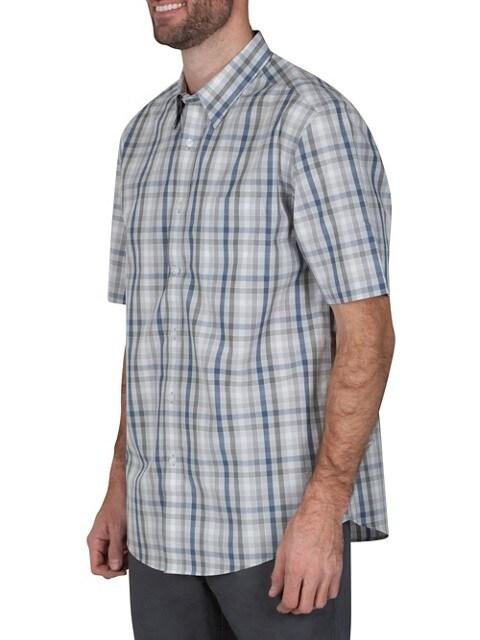 Haggar Chemise à manche courtes et motif à carreaux multicolores de coupe traditionnelle GRIS CLAIR