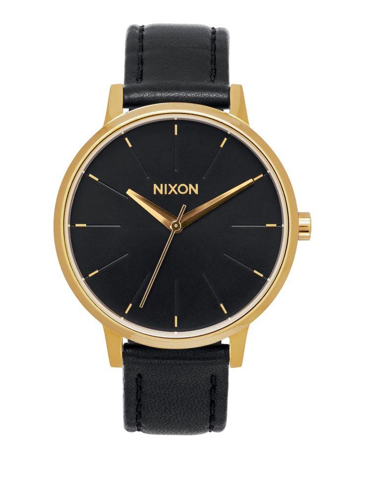 Nixon - Montre analogique dorée Kensington avec bracelet en cuir ... f8c2c3ceab1