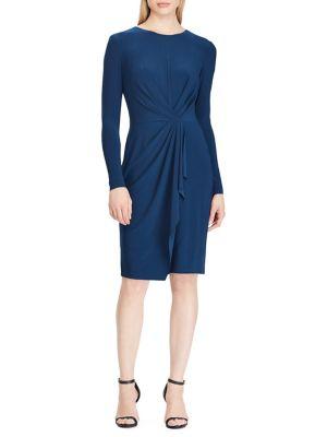 84a4185ea6 Matte Jersey Ruched Sheath Dress BLUE. QUICK VIEW. Product image. QUICK  VIEW. Lauren Ralph Lauren