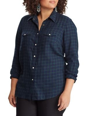 530d88ee72c Product image. QUICK VIEW. Chaps. Plus Western Plaid Cotton Twill  Button-Down Shirt