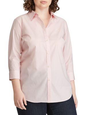 044795758620 QUICK VIEW. Lauren Ralph Lauren. Plus Relaxed-Fit Striped Button-Down Shirt