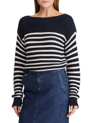 9d4d383227 Product image. QUICK VIEW. Lauren Ralph Lauren. Striped Cotton Boat Neck  Sweater
