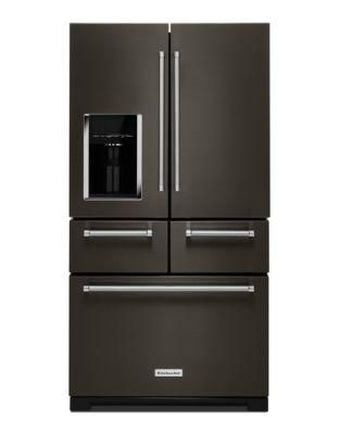 KRMF706EBS Réfrigérateur non encastrable à portes multiples et intérieur platine KitchenAid, 25,8 pi³, 91 cm - Inox noir photo