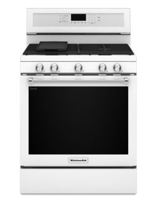 KFGG500EWH - 30-Inch 5-Burner Gas Convection Range - White photo