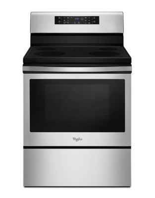 YWFE520S0FS - 5.3 cu. ft. guided Electric Freestanding Range with fan convection cooking Black on Stainless photo