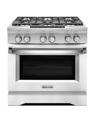 KDRS467VMW - 36 Commercial-Style 6-Burner Dual Fuel Freestanding Range White photo