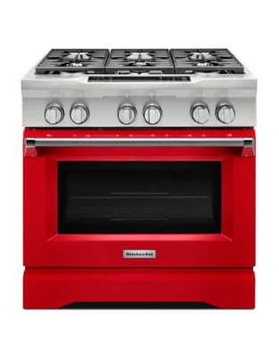 KDRS467VSD - 36 Commercial-Style 6-Burner Dual Fuel Freestanding Range Red photo