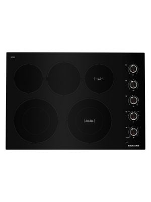 KCES550HBL - 30- Inch Electric Cooktop with 5 Elements and Knob Controls - Black photo