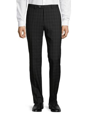 3ea90225 Slim-Fit Flat Front Checkered Trousers BLACK. QUICK VIEW. Product image