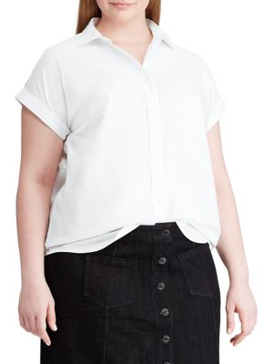 b9774b0e QUICK VIEW. Chaps. Plus Short Sleeve Stretch Poplin Shirt