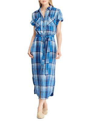 e1b21a2bb1a Plaid Linen Shirt Dress BLUE. QUICK VIEW. Product image