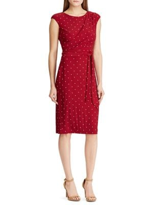 13ab4de36a204c Polka Dot Jersey Sheath Dress RED. QUICK VIEW. Product image
